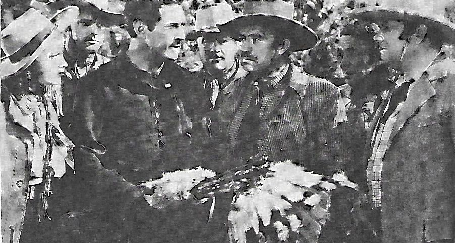 James Blaine, Johnny Mack Brown, Ed Cassidy, Eleanor Hansen, William Royle, Tom Steele, and Charles Stevens in Flaming Frontiers (1938)