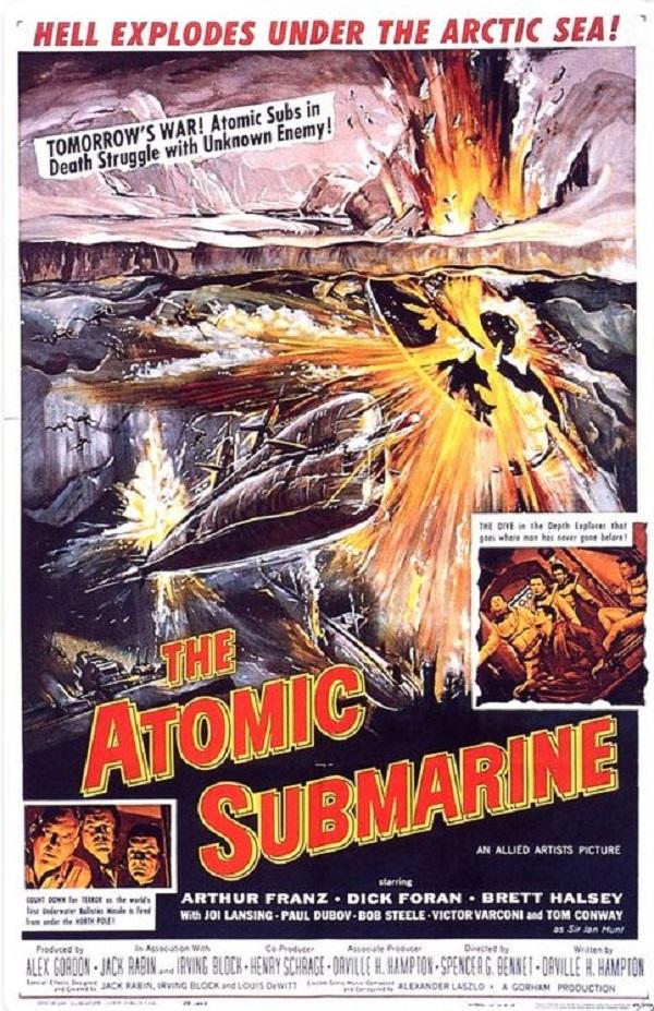 Paul Dubov, Dick Foran, Arthur Franz, and Brett Halsey in The Atomic Submarine (1959)