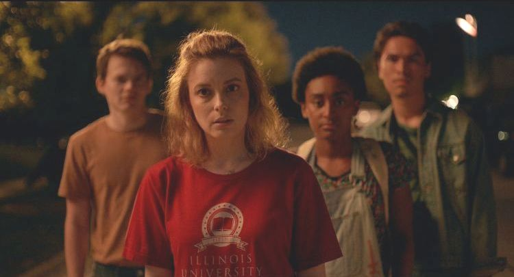 Gillian Jacobs, Forrest Goodluck, Josh Wiggins, and Khloe Janel in I Used to Go Here (2020)