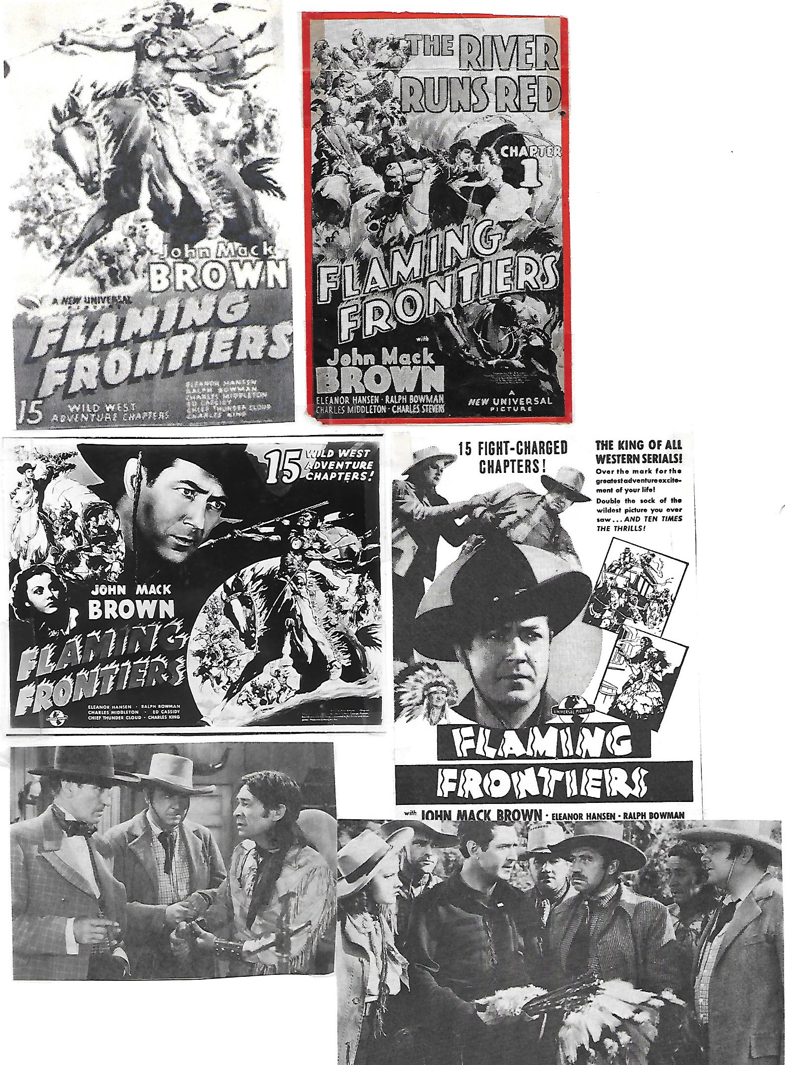 James Blaine, Johnny Mack Brown, Ed Cassidy, Eleanor Hansen, Charles Middleton, William Royle, Tom Steele, and Charles Stevens in Flaming Frontiers (1938)