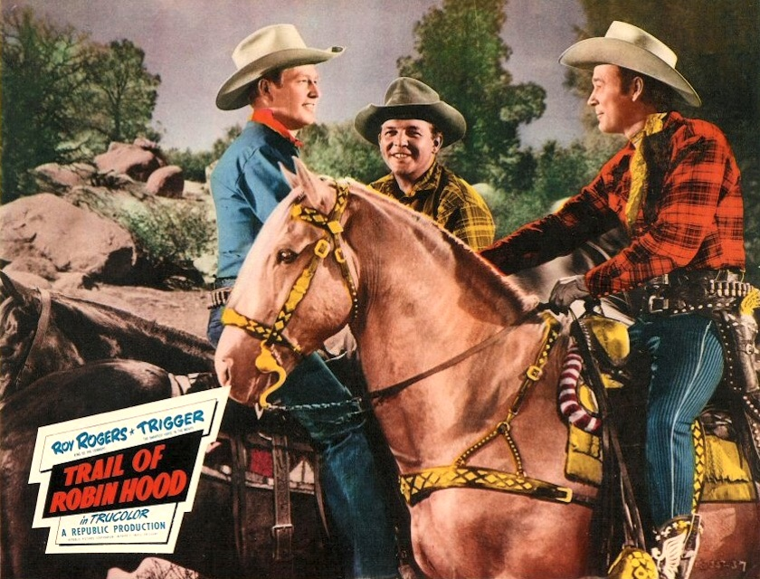 Roy Rogers, Rex Allen, Gordon Jones, and Trigger in Trail of Robin Hood (1950)