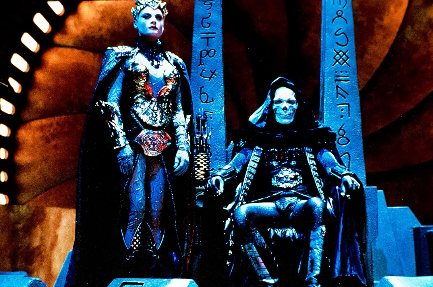 Meg Foster and Frank Langella in Masters of the Universe (1987)