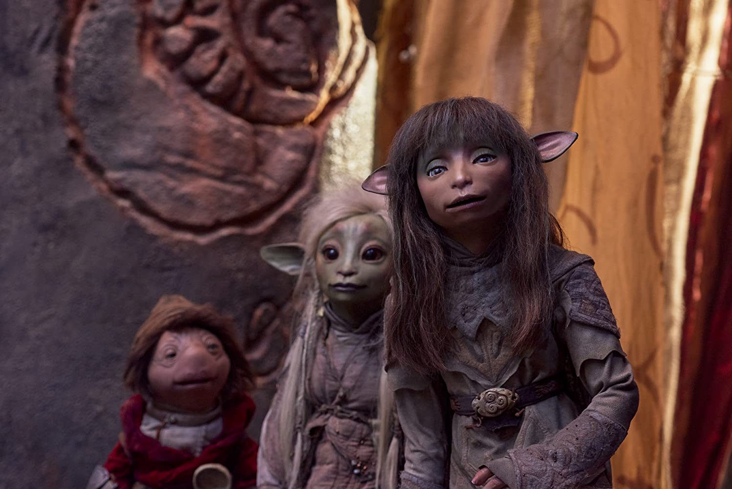Victor Yerrid, Nathalie Emmanuel, and Taron Egerton in The Dark Crystal: Age of Resistance (2019)