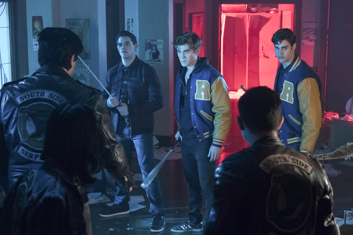Cody Kearsley, Jordan Connor, K.J. Apa, and Casey Cott in Riverdale (2016)