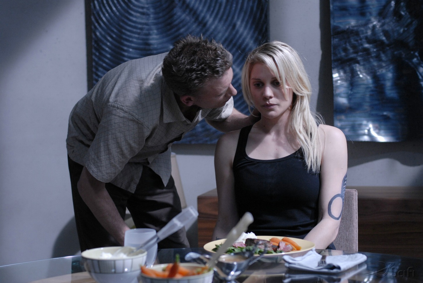 Callum Keith Rennie and Katee Sackhoff in Battlestar Galactica (2004)