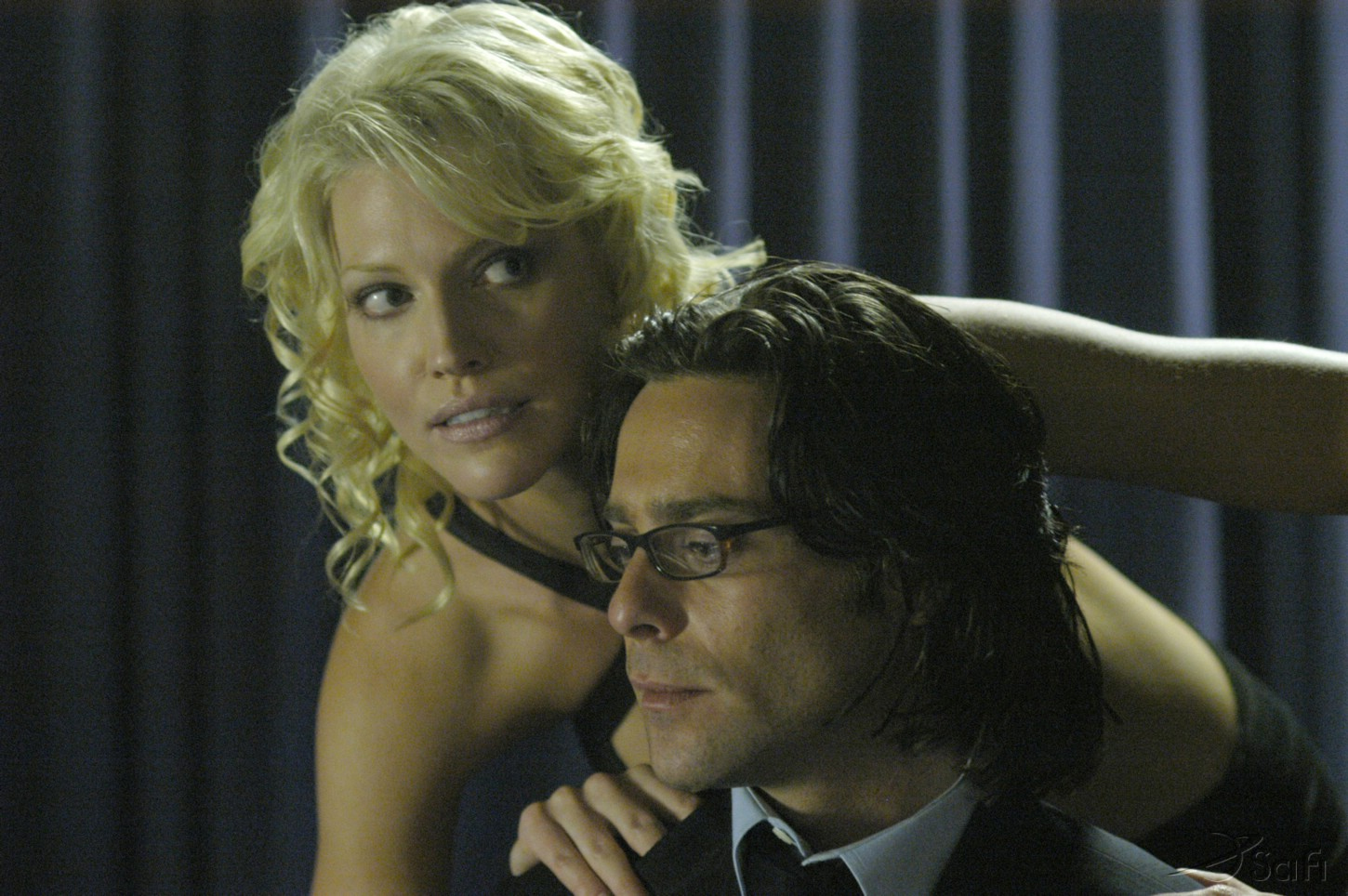 James Callis and Tricia Helfer in Battlestar Galactica (2004)