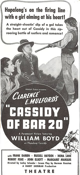 William Boyd, Russell Hayden, and Margaret Marquis in Cassidy of Bar 20 (1938)