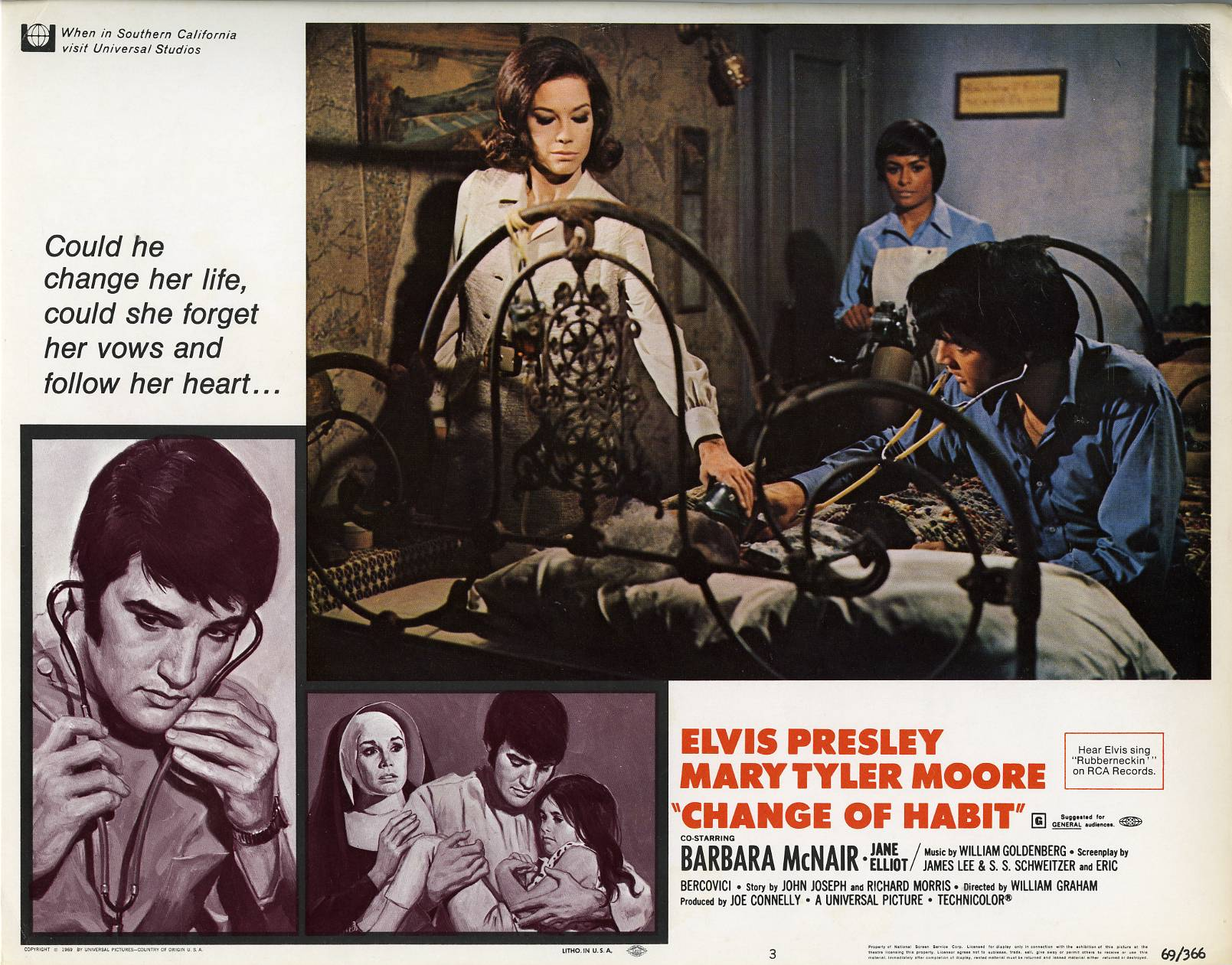 Elvis Presley, Mary Tyler Moore, Lorena Kirk, and Barbara McNair in Change of Habit (1969)