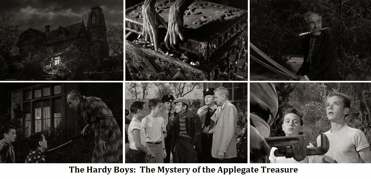 Florenz Ames, Tim Considine, Russ Conway, Robert Foulk, Tommy Kirk, and Arthur Shields in The Hardy Boys: The Mystery of the Applegate Treasure (1956)