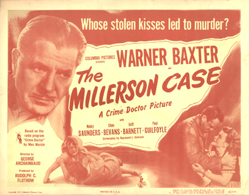 Paul Guilfoyle, Warner Baxter, Barbara Pepper, and Nancy Saunders in The Millerson Case (1947)