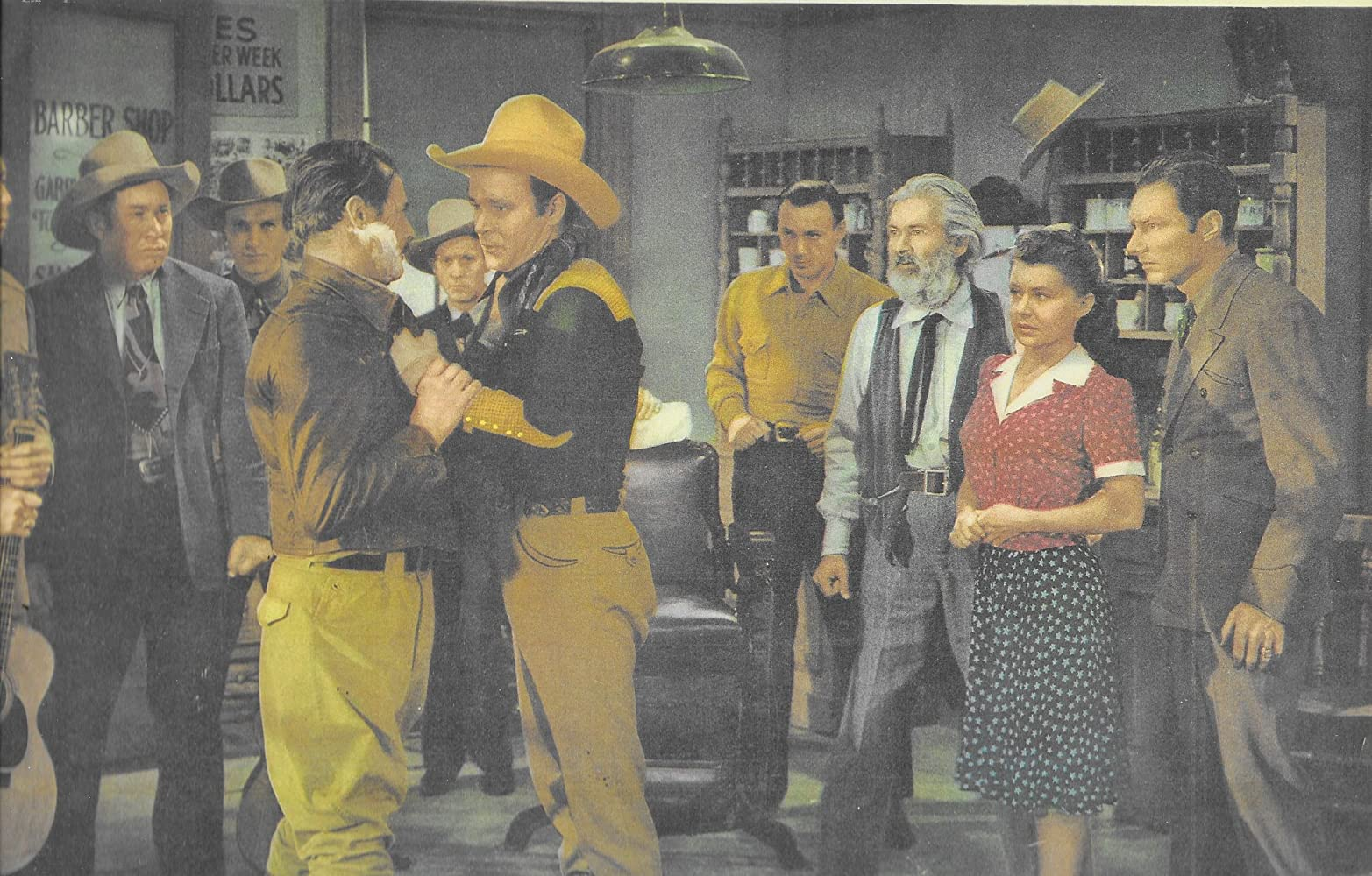 Roy Rogers, Pat Brady, Hugh Farr, George 'Gabby' Hayes, Bob Nolan, Sally Payne, Lloyd Perryman, Tim Spencer, and Hal Taliaferro in Red River Valley (1941)