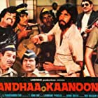 Amitabh Bachchan, Hema Malini, Pran, Amrish Puri, Rajinikanth, and Asrani in Andhaa Kaanoon (1983)