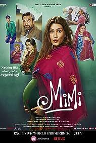 Manoj Pahwa, Supriya Pathak, Pankaj Tripathi, Evelyn Edwards, Sai Tamhankar, Aidan Whytock, and Kriti Sanon in Mimi (2021)