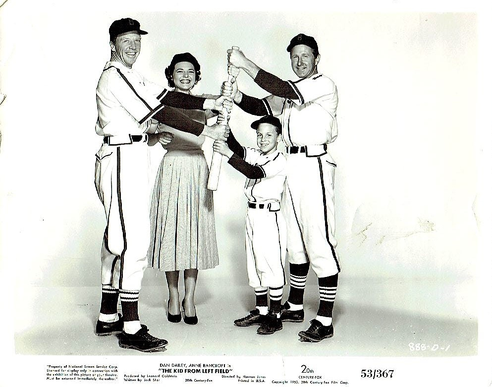 Anne Bancroft, Lloyd Bridges, Billy Chapin, and Dan Dailey in The Kid from Left Field (1953)