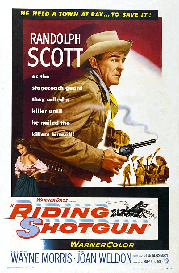Randolph Scott and Joan Weldon in Riding Shotgun (1954)