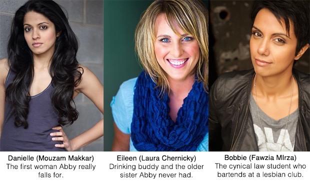 Easy Abby, Season 1 Cast: Mouzam Makkar, Laura Chernicky, and Fawzia Mirza