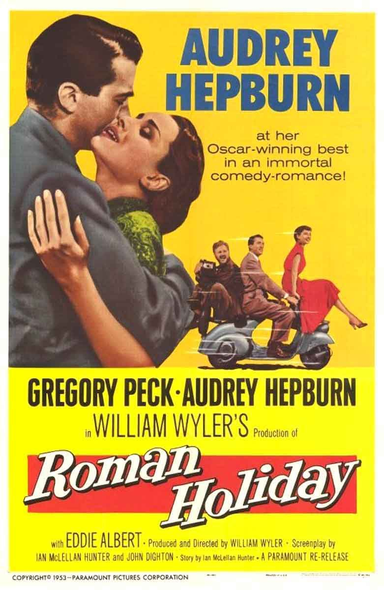 Audrey Hepburn, Gregory Peck, and Eddie Albert in Roman Holiday (1953)