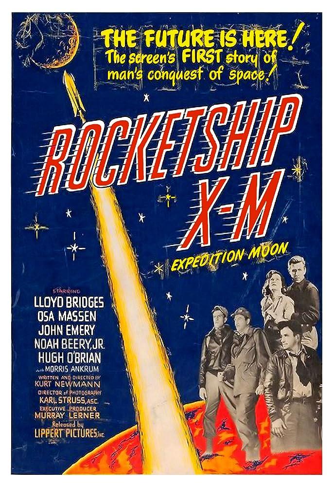 Noah Beery Jr., Lloyd Bridges, John Emery, Osa Massen, and Hugh O'Brian in Rocketship X-M (1950)