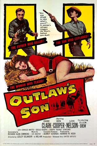 Dane Clark, Ben Cooper, and Lori Nelson in Outlaw's Son (1957)