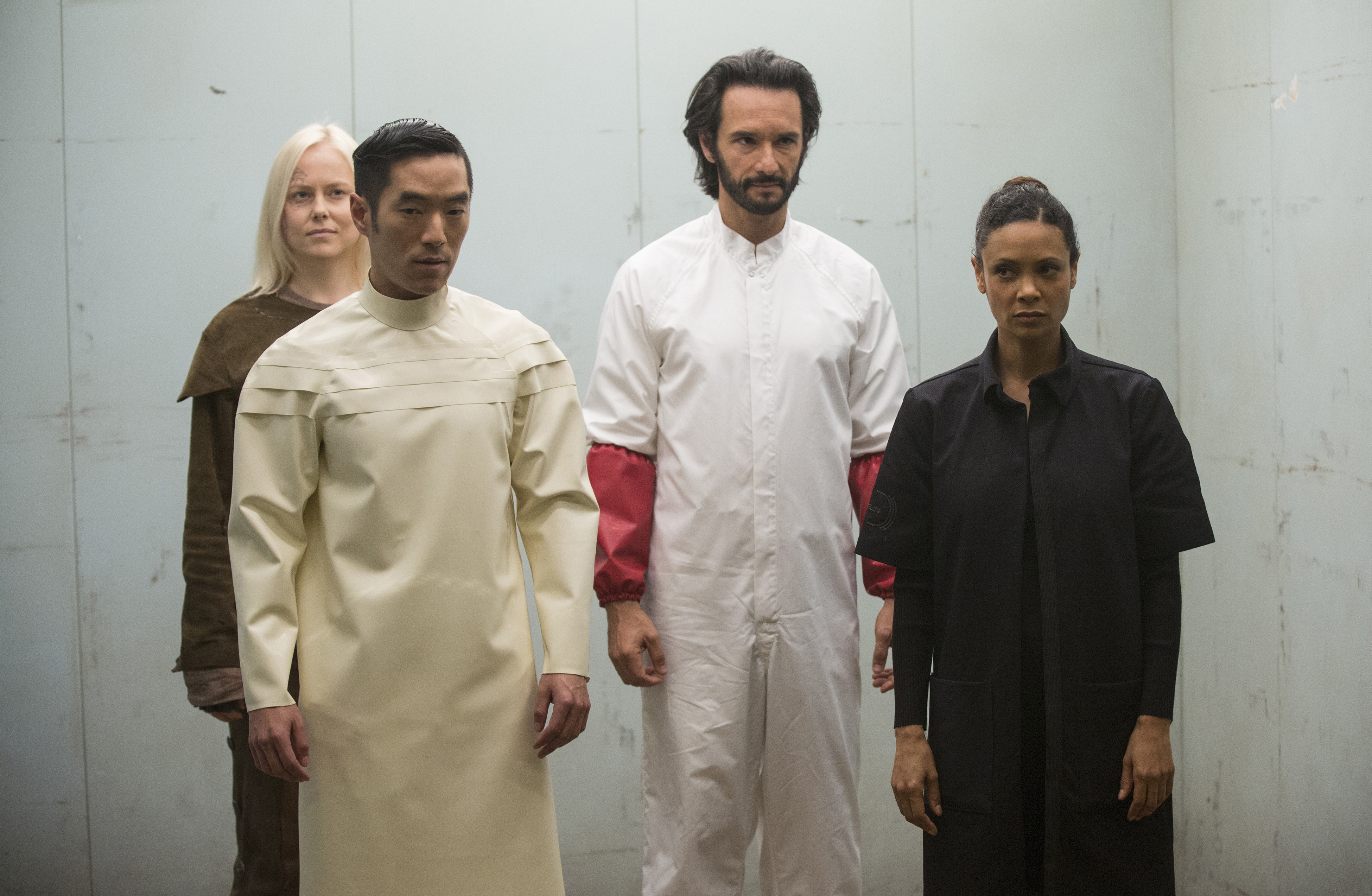Thandie Newton, Rodrigo Santoro, Leonardo Nam, and Ingrid Bolsø Berdal in Westworld (2016)