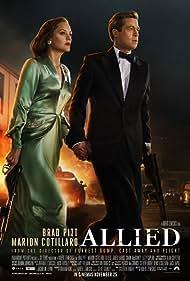 Brad Pitt and Marion Cotillard in Allied (2016)
