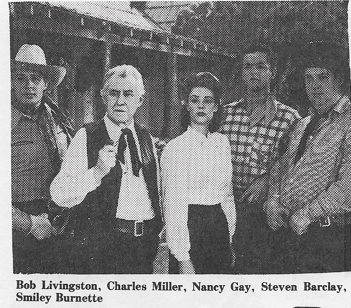 Steve Barclay, Smiley Burnette, Nancy Gay, Robert Livingston, and Charles Miller in Pride of the Plains (1944)