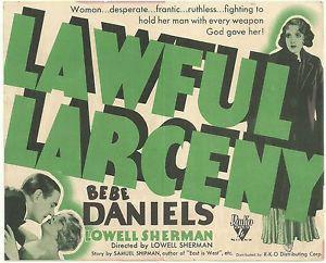 Bebe Daniels and Lowell Sherman in Lawful Larceny (1930)