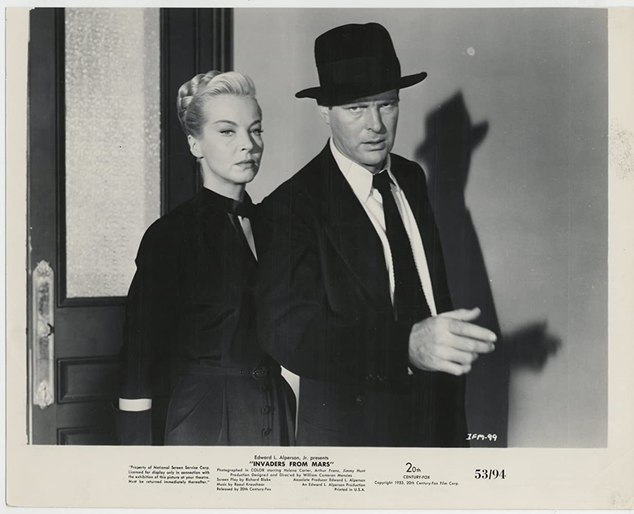 Leif Erickson and Hillary Brooke in Invaders from Mars (1953)