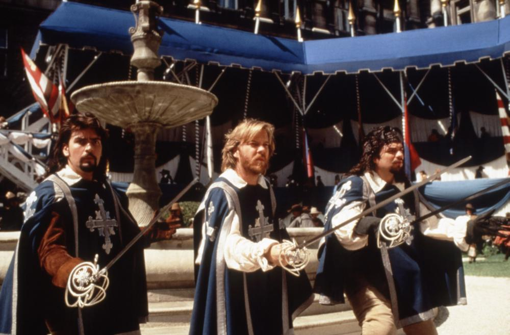 Charlie Sheen Kiefer Sutherland and Oliver Platt in The Three Musketeers 1993
