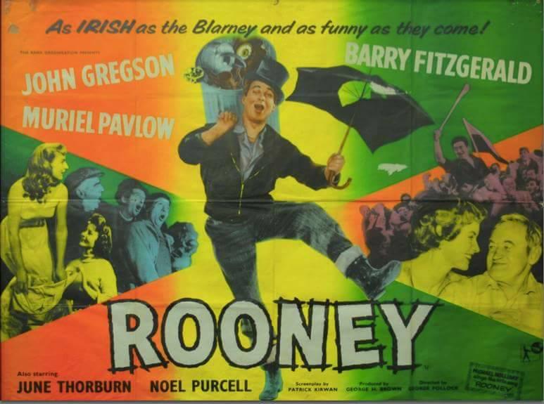Irene Browne, Pauline Delaney, Barry Fitzgerald, John Gregson, Jack MacGowran, Noel Purcell, and June Thorburn in Rooney (1958)