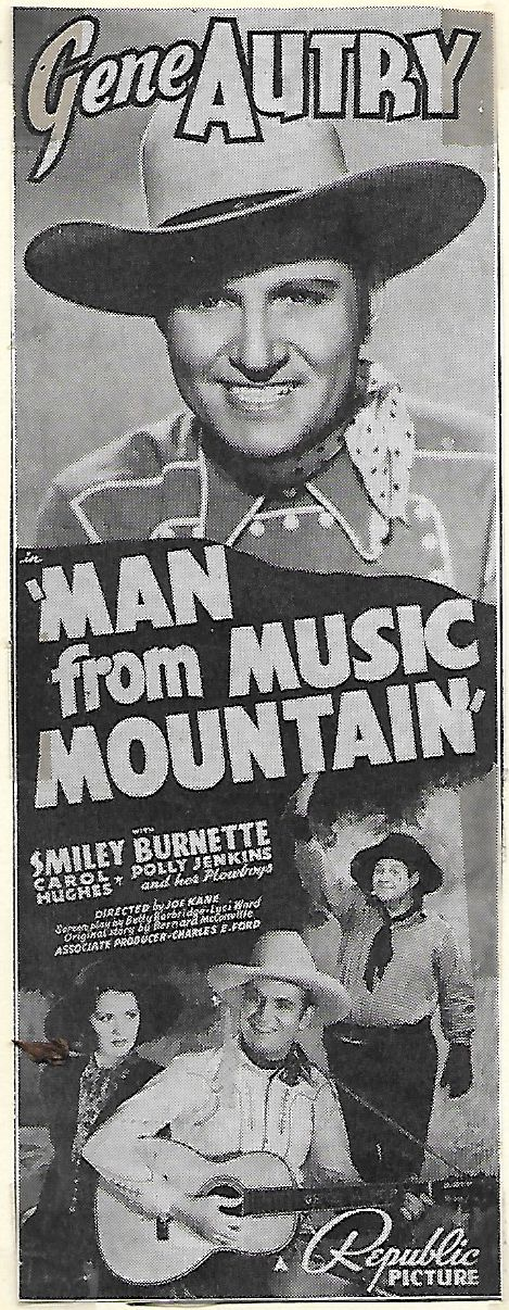 Gene Autry, Smiley Burnette, and Carol Hughes in Man from Music Mountain (1938)