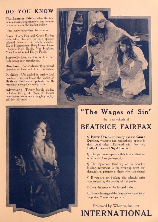 Grace Darling, Harry Fox, and Elaine Hammerstein in Beatrice Fairfax (1916)