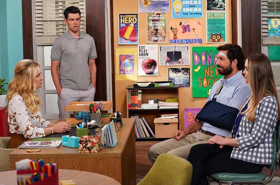 Max Greenfield, Brian Thomas Smith, Aynsley Bubbico, and Beth Behrs in The Neighborhood (2018)