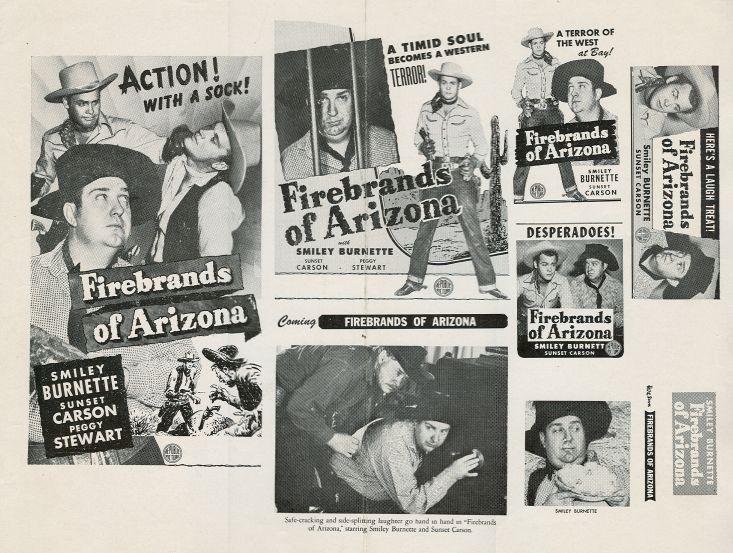 Smiley Burnette, Sunset Carson, Jack Kirk, and Robert J. Wilke in Firebrands of Arizona (1944)