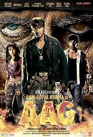 Amitabh Bachchan, Ajay Devgn, and Priyanka Kothari in Ram Gopal Varma Ki Aag (2007)