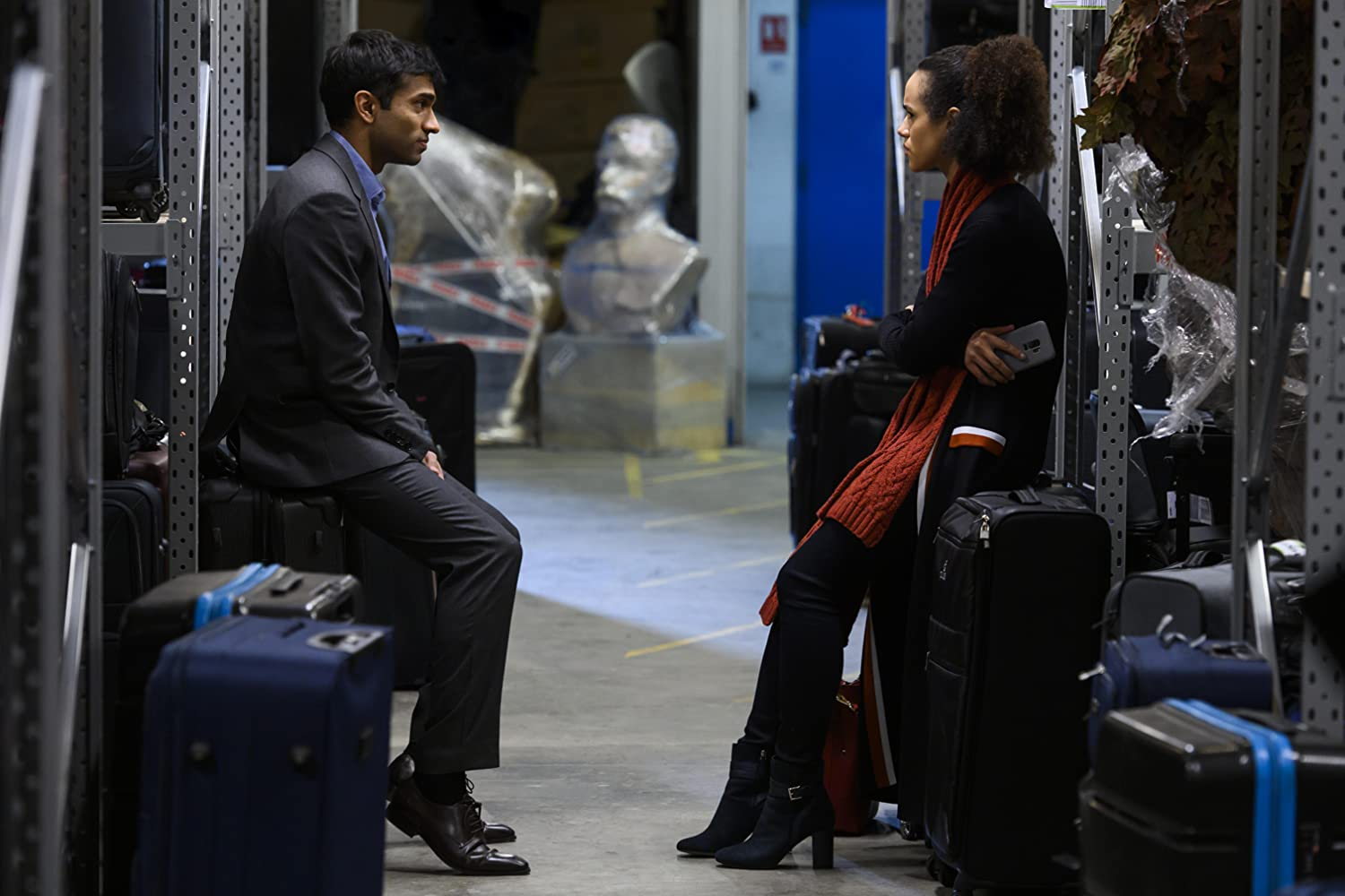 Nathalie Emmanuel and Nikesh Patel in Four Weddings and a Funeral (2019)