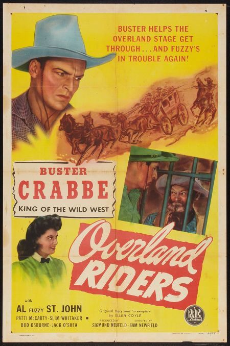 Buster Crabbe, Patti McCarty, and Al St. John in Overland Riders (1946)