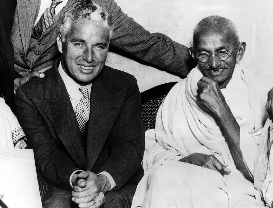 Charles Chaplin and Mohandas K Gandhi