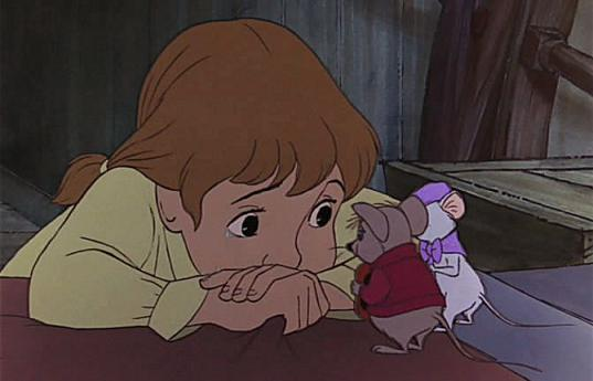 Eva Gabor, Robie Lester, Bob Newhart, and Michelle Stacy in The Rescuers (1977) Disney Studios