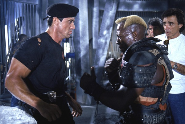 Sylvester Stallone and Wesley Snipes in Demolition Man (1993)