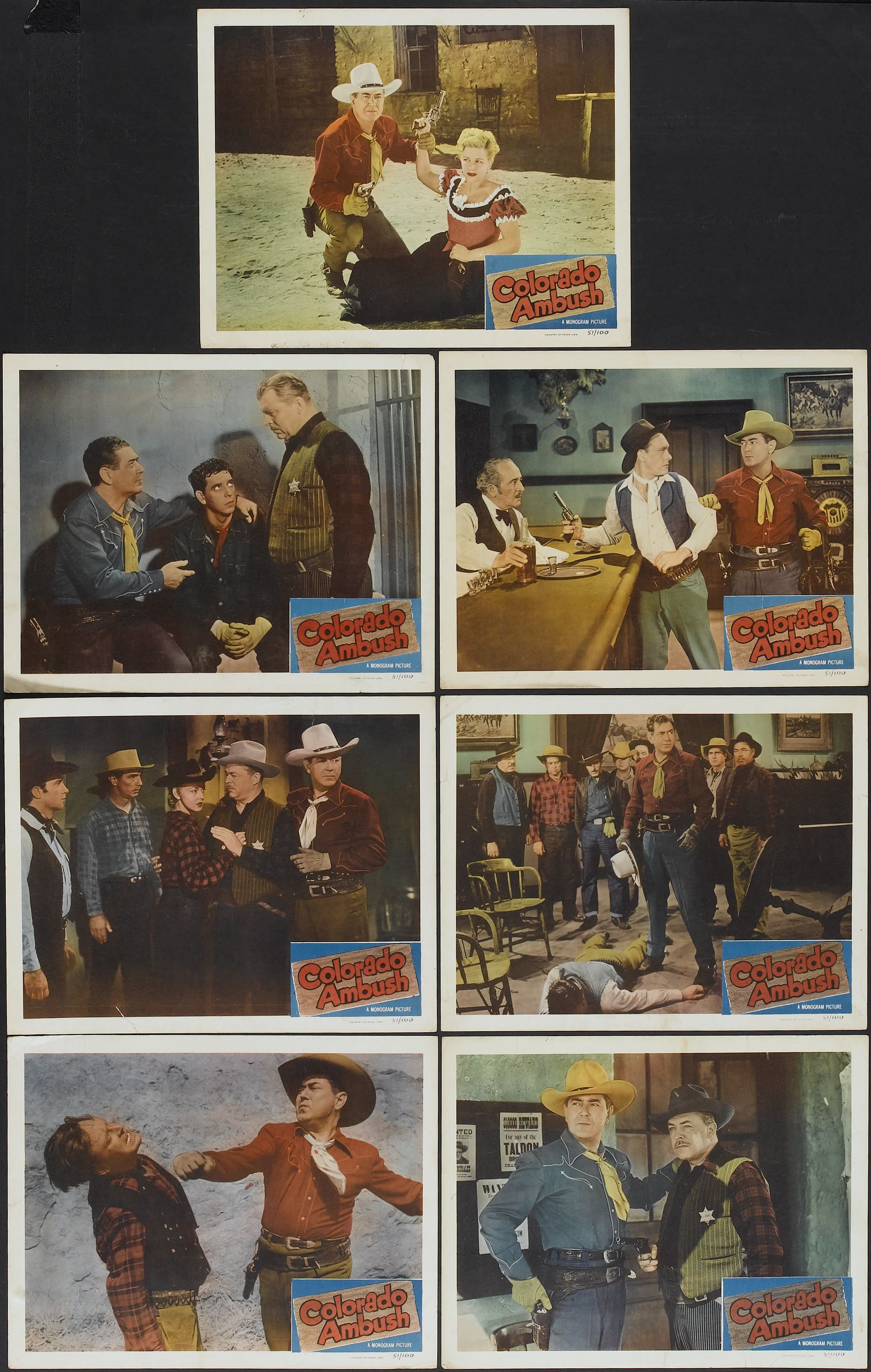 Johnny Mack Brown, Tommy Farrell, Lois Hall, Myron Healey, Christine McIntyre, Lee Roberts, and Lyle Talbot in Colorado Ambush (1951)