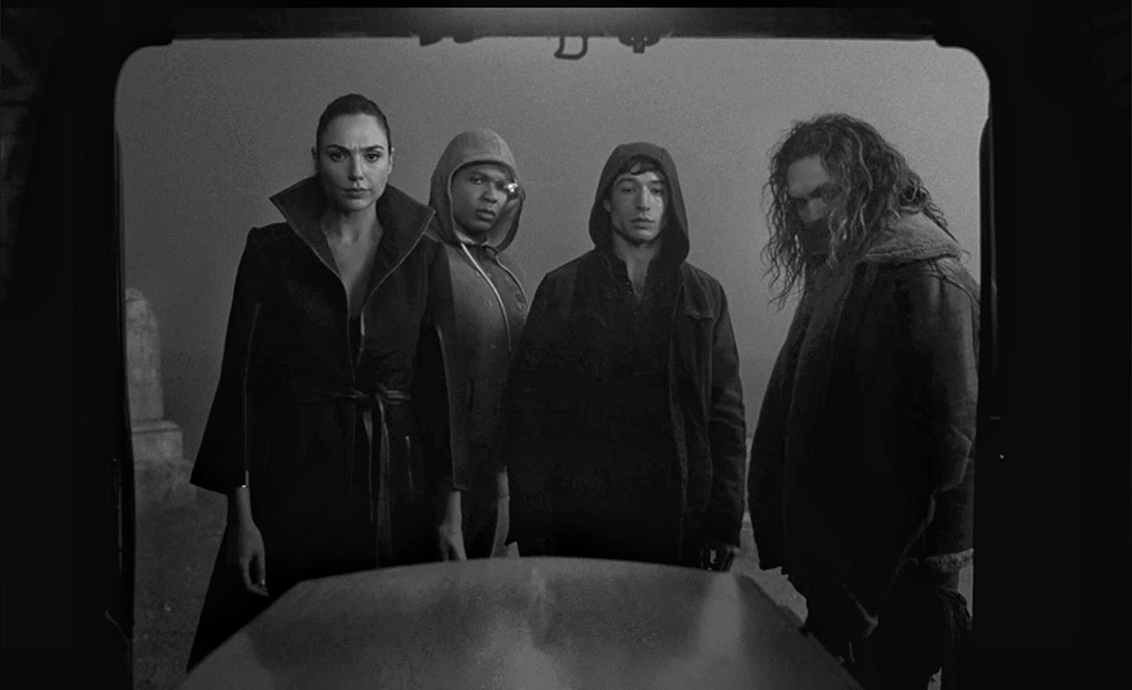 Jason Momoa, Gal Gadot, Ezra Miller, and Ray Fisher in Zack Snyder's Justice League (2021)
