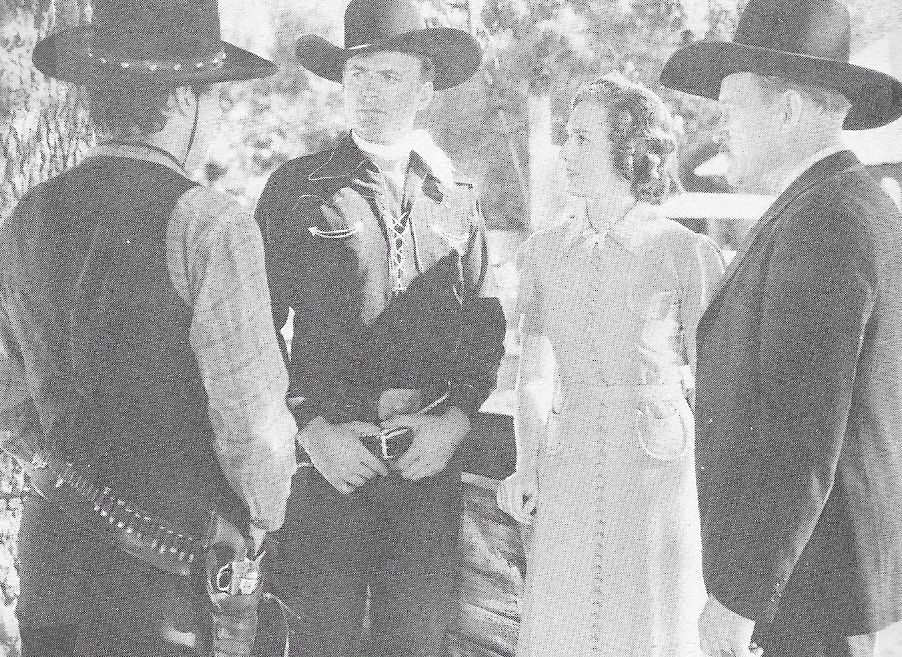 Bob Baker, Dorothy Fay, Jack Rockwell, and Carleton Young in Prairie Justice (1938)