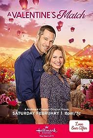 Bethany Joy Lenz and Luke Macfarlane in A Valentine's Match (2020)