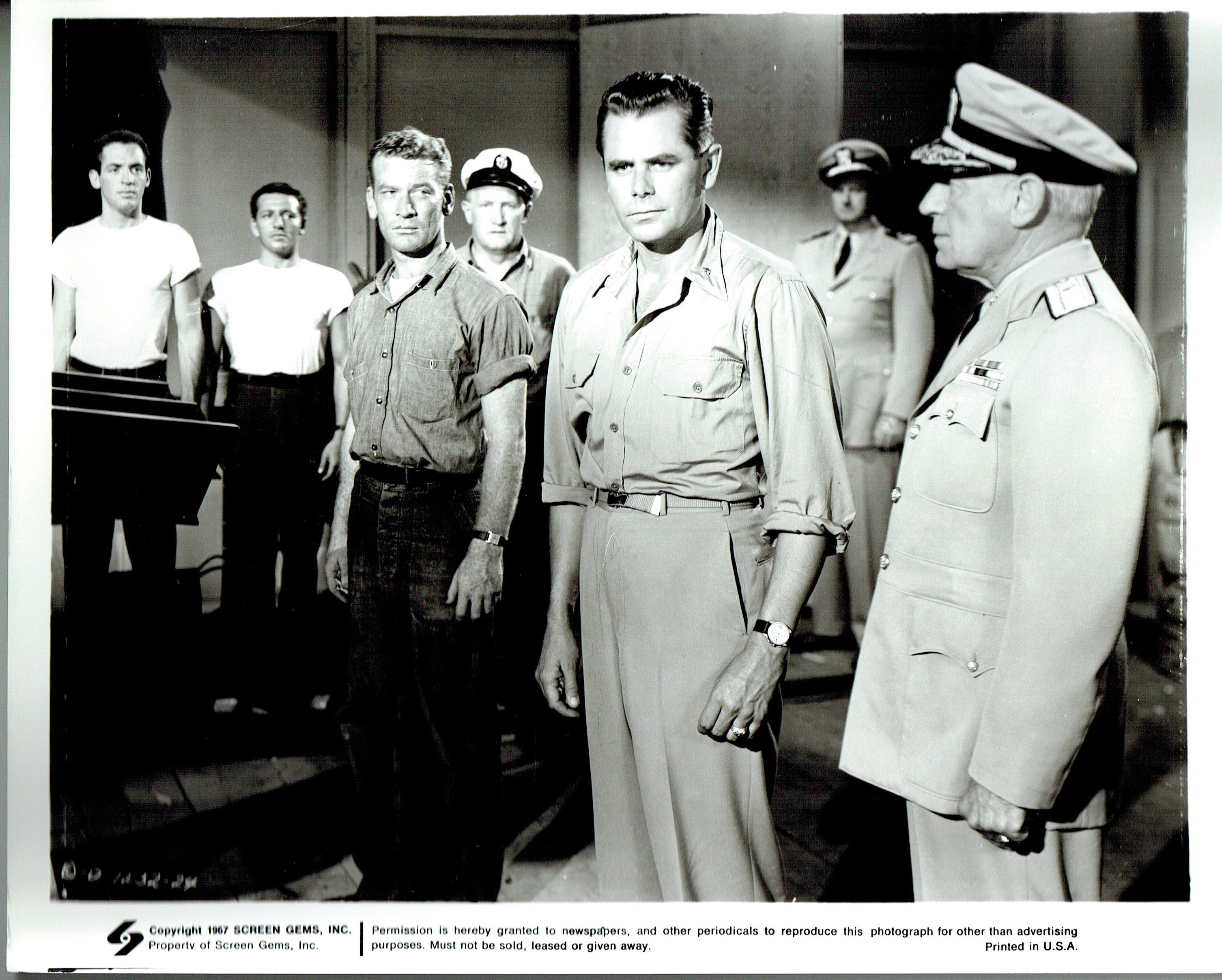 Glenn Ford, Jerry Paris, Joe Sawyer, and Kenneth Tobey in The Flying Missile (1950)