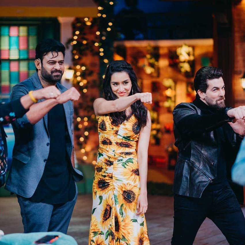 Prabhas, Neil Nitin Mukesh, and Shraddha Kapoor in Team Saaho (2019)