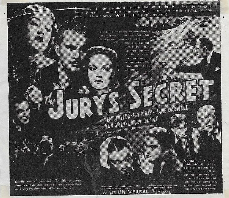 Jane Darwell, Larry J. Blake, Nan Grey, Leonard Mudie, Kent Taylor, and Fay Wray in The Jury's Secret (1938)