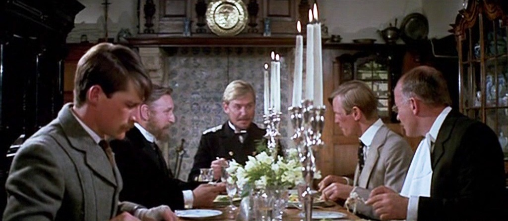 Michael York, Alan Badel, and Simon MacCorkindale in The Riddle of the Sands (1979)