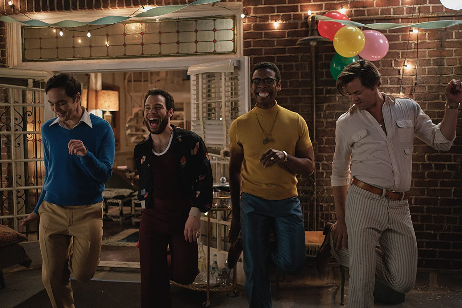 Still Image of Jim Parsons, Robin De Jesus, Michael Benjamin Washington & Andrew Rannells in THE BOYS IN THE BAND