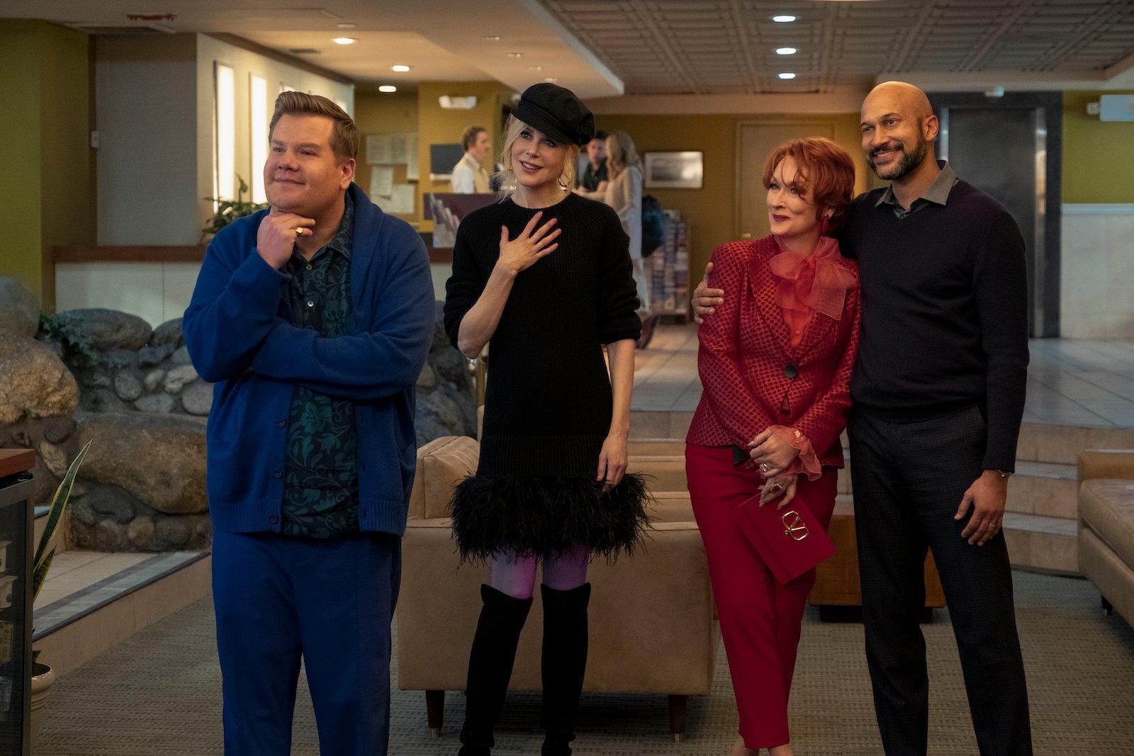 Nicole Kidman, Meryl Streep, James Corden, and Keegan-Michael Key in The Prom (2020)